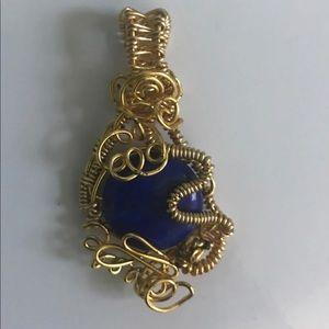 Gold Wire Wrapped Lapis Lazuli Pendant
